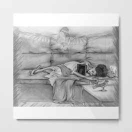 MOMMIE'S BABY - black and white Metal Print