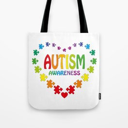Autism Shirt in Shape of Heart made from Puzzle Pieces Tee Tote Bag