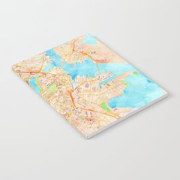 Boston watercolor map XL version Notebook