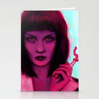 mia wallace Stationery Cards featuring Mia by Thiago García