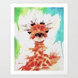 Grinning Giraffe Art Print