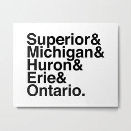 Helvetica Great Lakes Metal Print