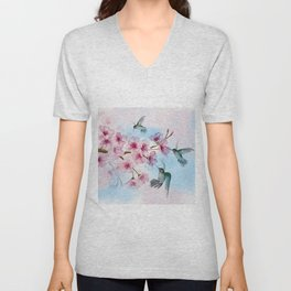 Cherry Blossom and Hummingbirds Unisex V-Neck