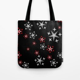Red silver Stars black background Tote Bag