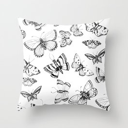 Butterflies and moths Throw Pillow