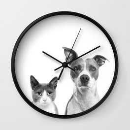 Cute Kitty Cat And Puppy Portrait Art Print, Cat And Dog Animal Nursery, Baby Animals Wall Art Decor Wall Clock