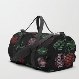 Cherry Cross Stitch Pattern on black Duffle Bag