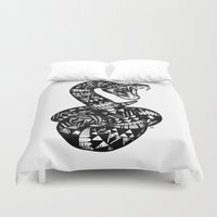 snake Duvet Covers featuring Snake by Emma Barker