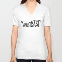 west coast V-neck T-shirts featuring West Coast by cabin supply co