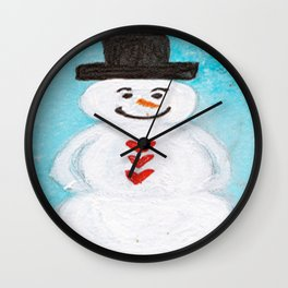 Blue Sky Snowman Wall Clock