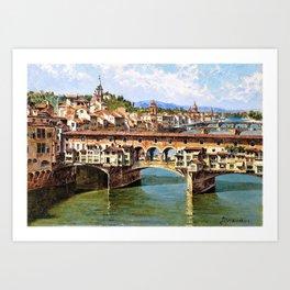 Antonietta Brandeis - Ponte Vecchio To Florence - Digital Remastered Edition Art Print