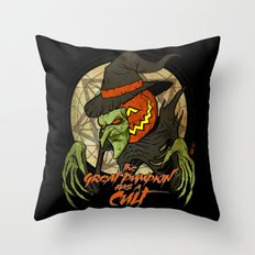 Cult of the Great Pumpkin: Witch Mask Throw Pillow