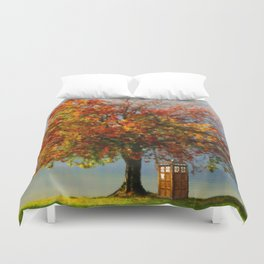 Tardis In The Lake Tree Duvet Cover