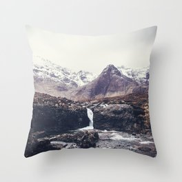 Stormy Fairy Pools in Rugged Scotland Throw Pillow