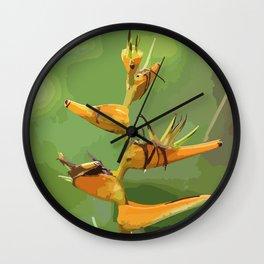 Tropical Flower CR Illustration yellow Wall Clock