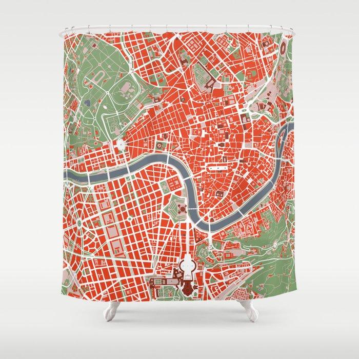 Rome city map classic Shower Curtain by planosurbanos | Society6