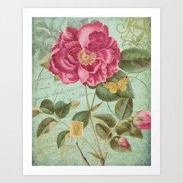 Victorian Rose & French Ephemera Art Print - Vintage Rose Collage Wall Art Art Print