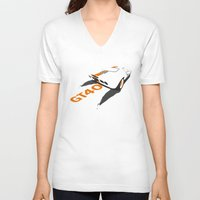 ford V-neck T-shirts featuring Ford GT40 by VelocityGallery