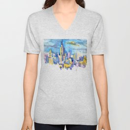 blue icing, print or original watercolor painting by Jessie Novik from rooftop view overlooking NYC Unisex V-Neck