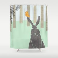 rabbit Shower Curtains featuring Rabbit by Dream Of Forest