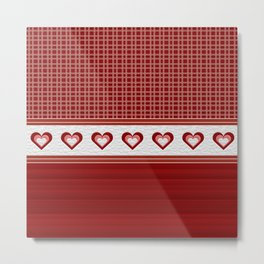 Decorative Quilted Heart Ribbon Multi Pattern Design Metal Print
