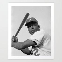Jackie Robinson, Brooklyn Dodgers, 1954 Art Print