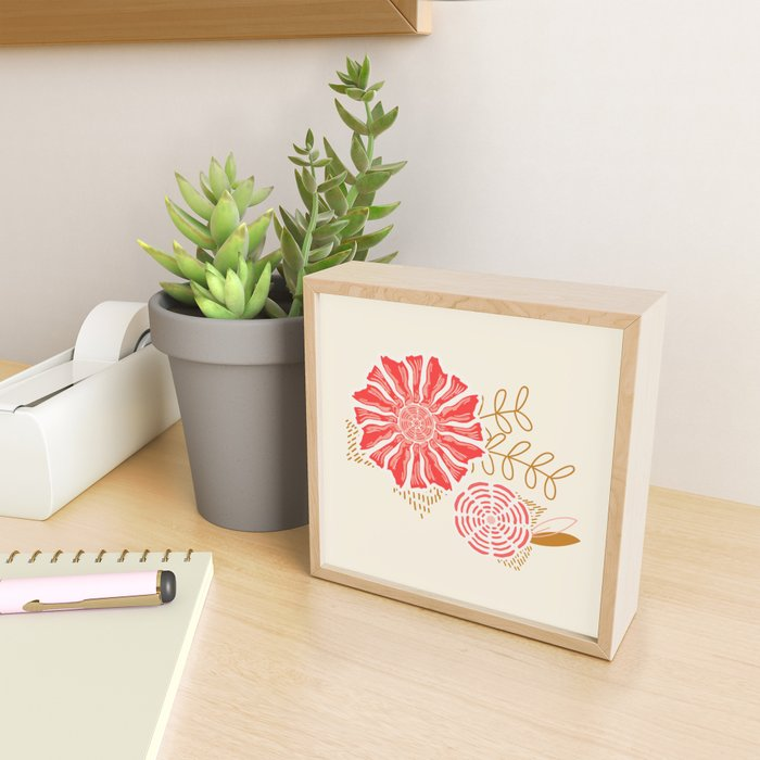 Retro Floral Framed Mini Art Print