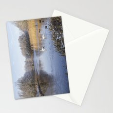Swans on snowy lake. Stationery Cards