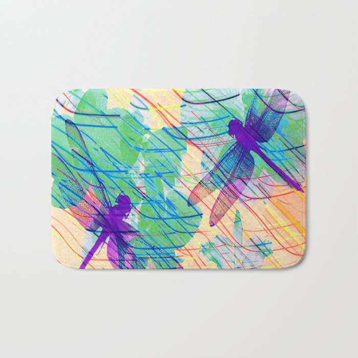 Colorful Dragonflies Bath Mat
