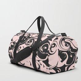 Modern Blush Pink Black Swirly Paint Abstract Art Duffle Bag