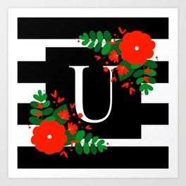 U - Monogram Black and White with Red Flowers Art Print