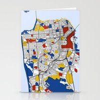 san francisco map Stationery Cards featuring San Francisco by Mondrian Maps