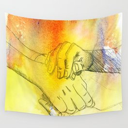 Watercolor Hands Wall Tapestry