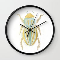 beetle Wall Clocks featuring Beetle by Very Sarie