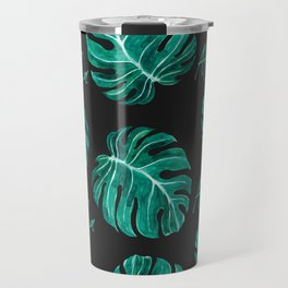 Aloha script tropical emerald green monstera leaves on dark background Travel Mug