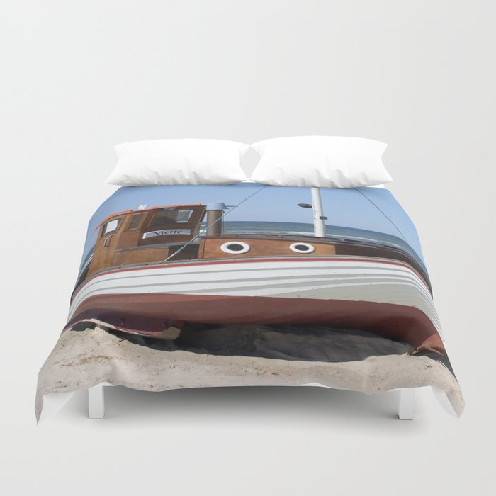 Fishing Boat on the Beach Duvet Cover
