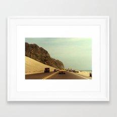 Vintage 1980s Color Photo of Pacific Coastal Highway 101 near Santa Barbara Framed Art Print