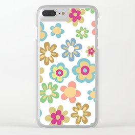 Retro 60s Hippie Flowers Clear iPhone Case