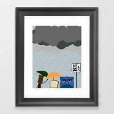Rainy day at the bus stop Framed Art Print