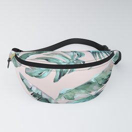 Tropical Palm Leaves Turquoise Green Coral Pink Fanny Pack