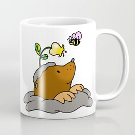 Brown mole with a garden flower bee Coffee Mug