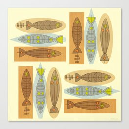 Fish In A Midcentury Modern Style Canvas Print