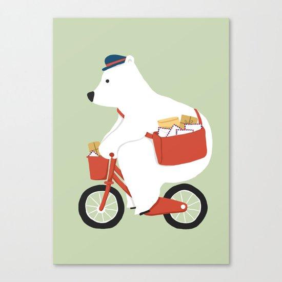 Polar bear postal express Canvas Print