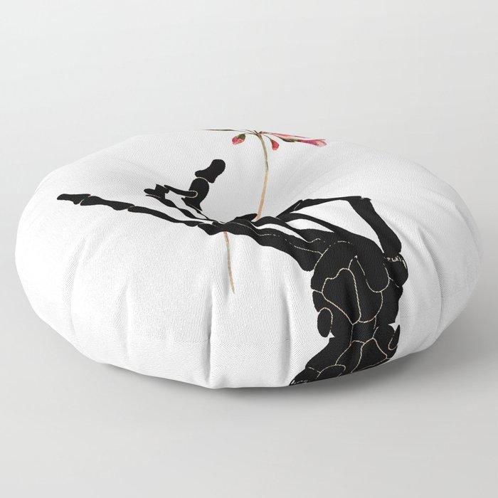 Skeleton Hand with Flower Floor Pillow