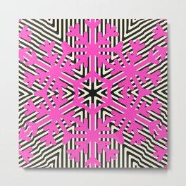 Pink Snow Flakes Metal Print