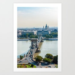 Aerial view of Chain Bridge and St. Stephen's Basilica - Budapest Art Print