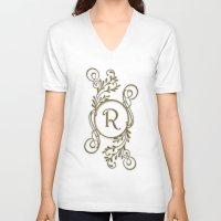 monogram V-neck T-shirts featuring Monogram R by Britta Glodde