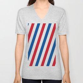 Blue, white and red stripes pattern Unisex V-Neck
