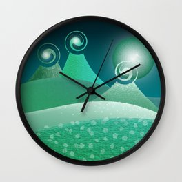 Fantasy Moonlit Mountains in green Wall Clock