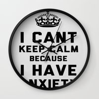 anxiety Wall Clocks featuring Anxiety by LuxuryLivingNYC
